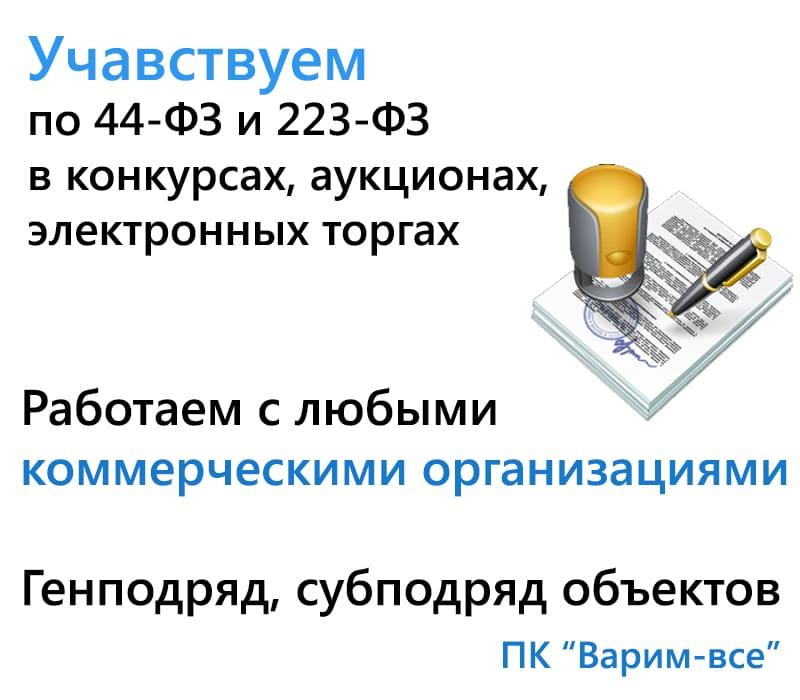 Участвуем по 44 и 223 ФЗ, в конкурсах, аукционах и электронных торгах