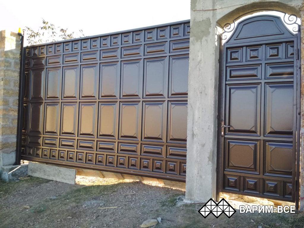 Откатные ворота и калитка из филенки, Пионерское